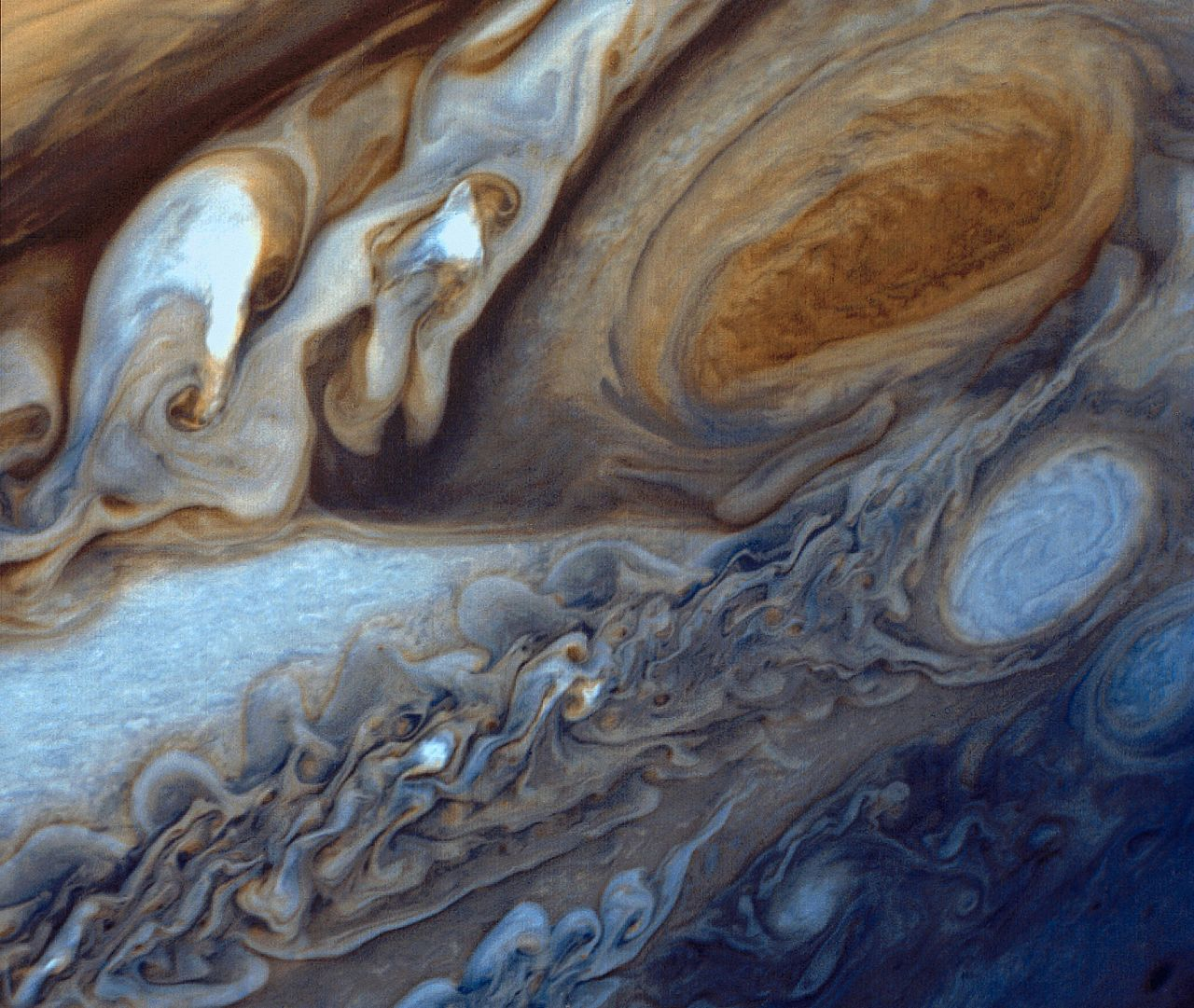 Image of Jupiter's Great Red Spot with turbulent cloud tops.