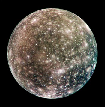 Image Jupiter's Galilean satellite Callisto with heavily-cratered iceballs.