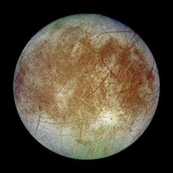 Image Jupiter's Galilean Satellite Europa with possible liquid water oceans below the crust.