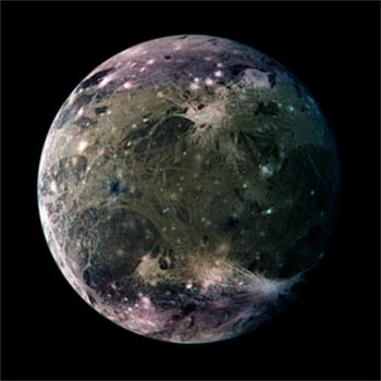 Image Jupiter's Galilean Satellite Ganymede, the biggest in the solar system with tectonic twists.