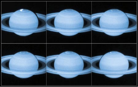 Image Multiple images showing Saturn's aurora or white spots at the top of the planet.