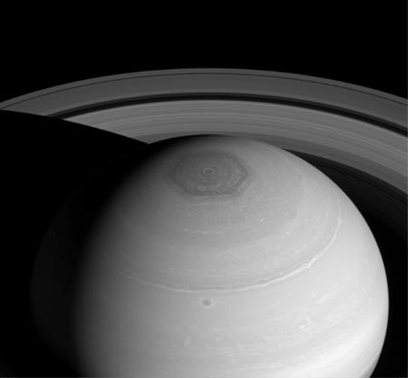 Image of Black and white image of Saturn's odd six sided Polar Hexagon.