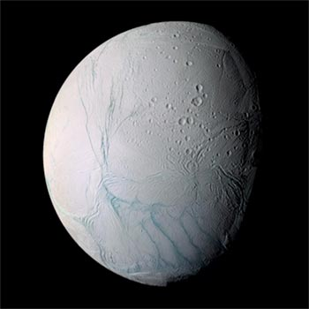 Image of Saturn's Satellite Enceladus showing distinctive twisted surface features.