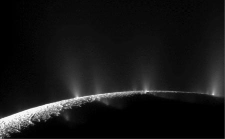 Image of Black and white image showing Geysers erupting upward from Enceladus.