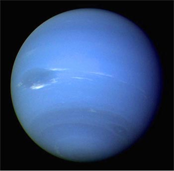 Image of the planet Neptune, showing the Great Dark Spot and Scooters.
