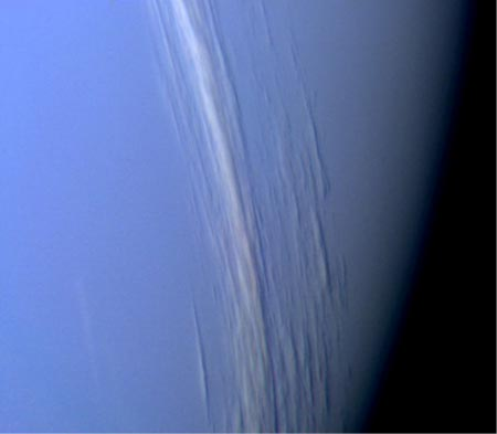 Image of Clouds in the upper atmosphere of Neptune.