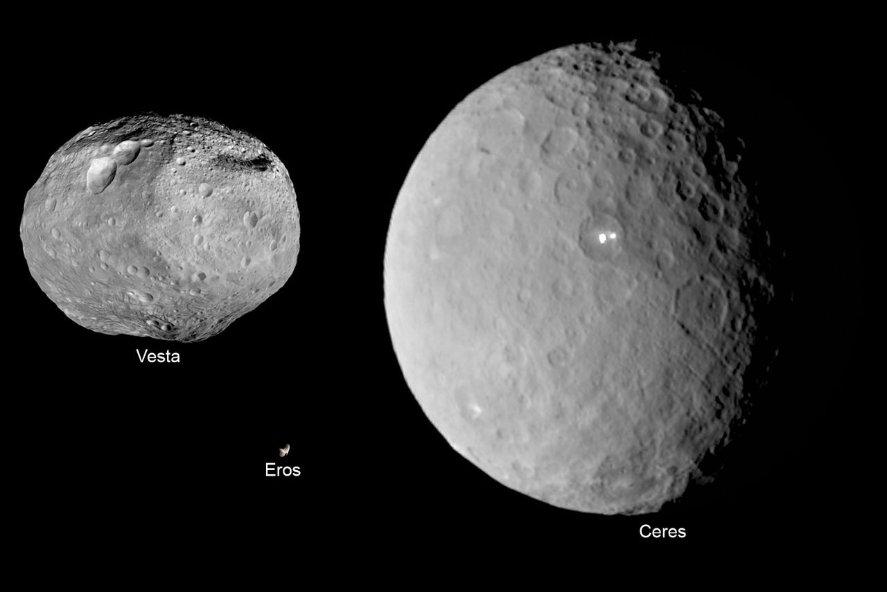 Image of the size comparison of the asteroids are Ceres, Vesta, and Eros.