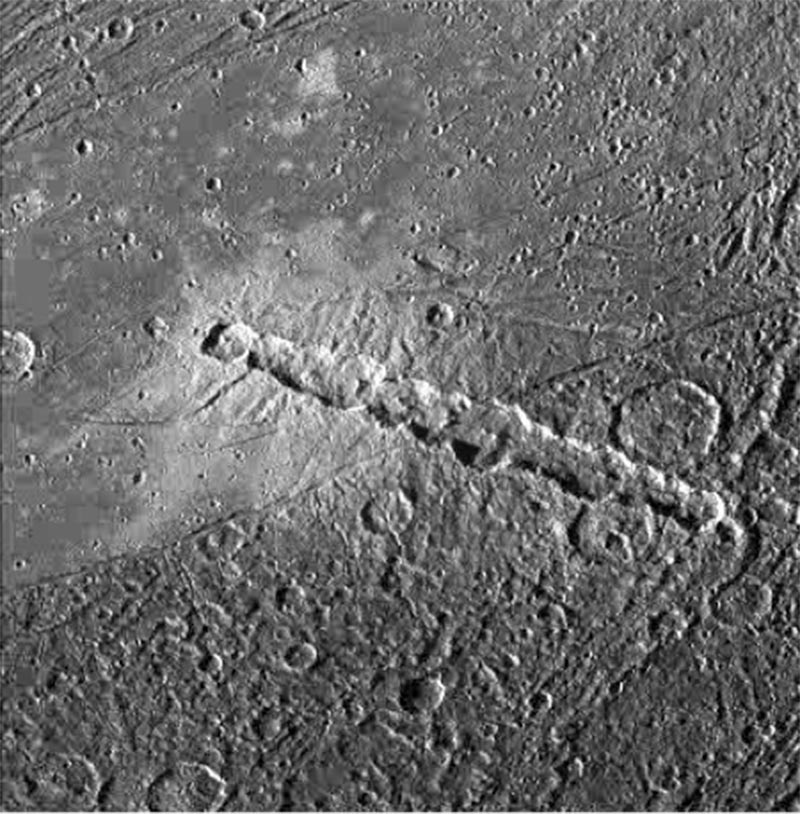 Image of A chain of craters on Jupiter's moon Ganymede that would have been caused by a series of comet fragments like Comet Shoemaker-Levy 9.