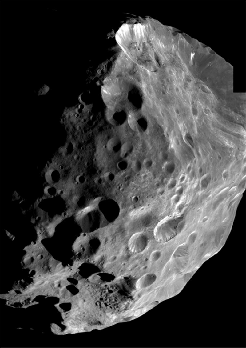 Image of Phoebe, a moon of Saturn and possibly a captured centaur.