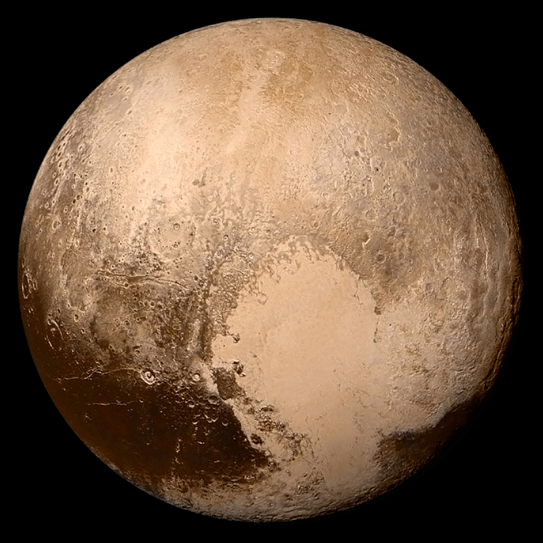 Image of The dwarf planet Pluto, left, and its moon Charon.