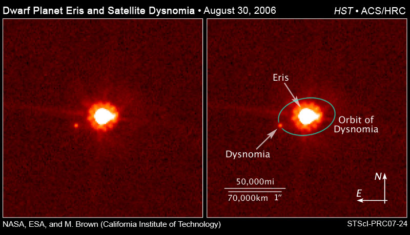 Image of The dwarf planet Eris, center, and its moon Dysnomia, right of Eris.