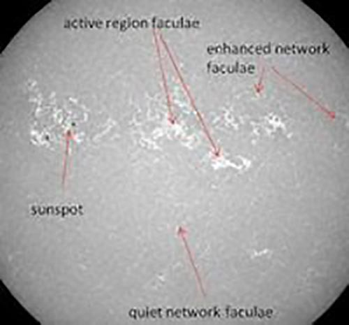 Solar Faculae with arrows pointing to active region, enhanced network, sunspot, and quiet network of the solar faculae. This image of the Sun's upper photosphere shows bright and dark magnetic structures responsible for variations in TSI.