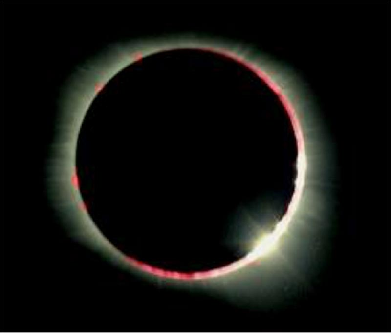 The Sun's Chromosphere – visible during a hybrid solar eclipse.