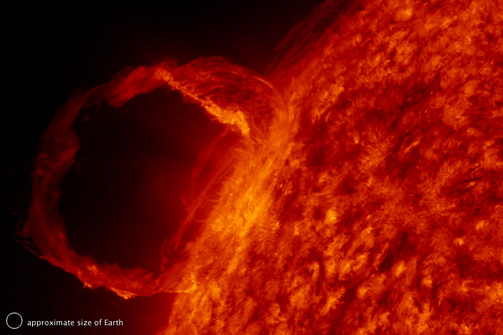 The Sun with a looping solar Prominence—bright gas clouds ejecting from the sun.