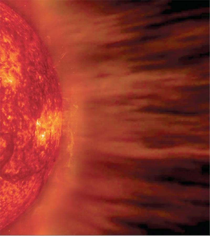 Solar Wind – Computer Generated Image with a SOHO Solar Photograph.