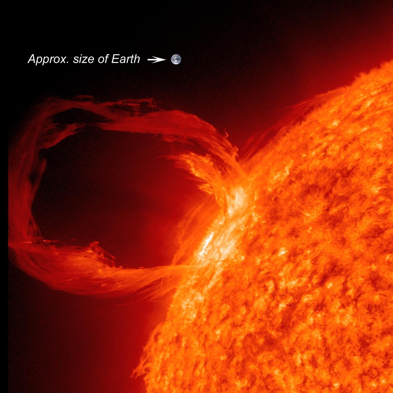 The Sun and a Coronal Mass Ejection compared with the size of the Earth.