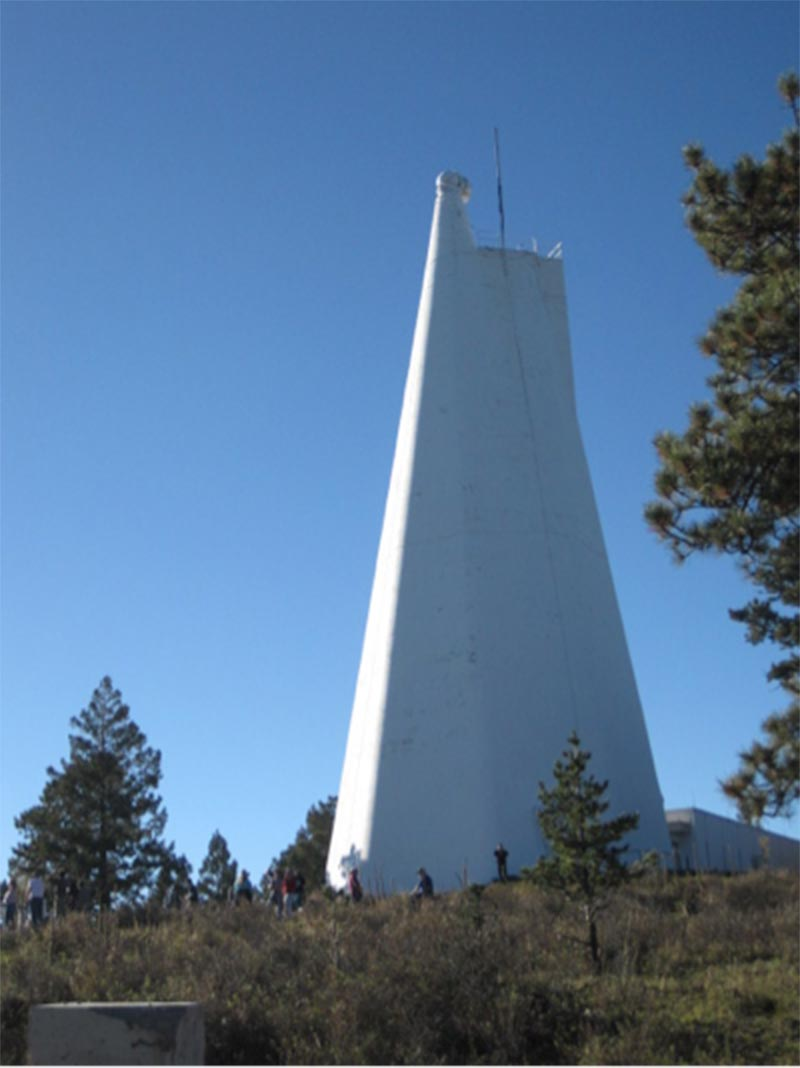 The National Solar Observatory telescope tower, 136 feet high.