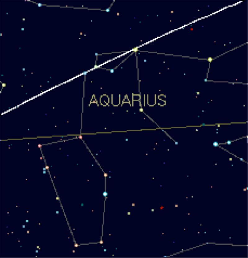 A star map of the Aquarius constellation.