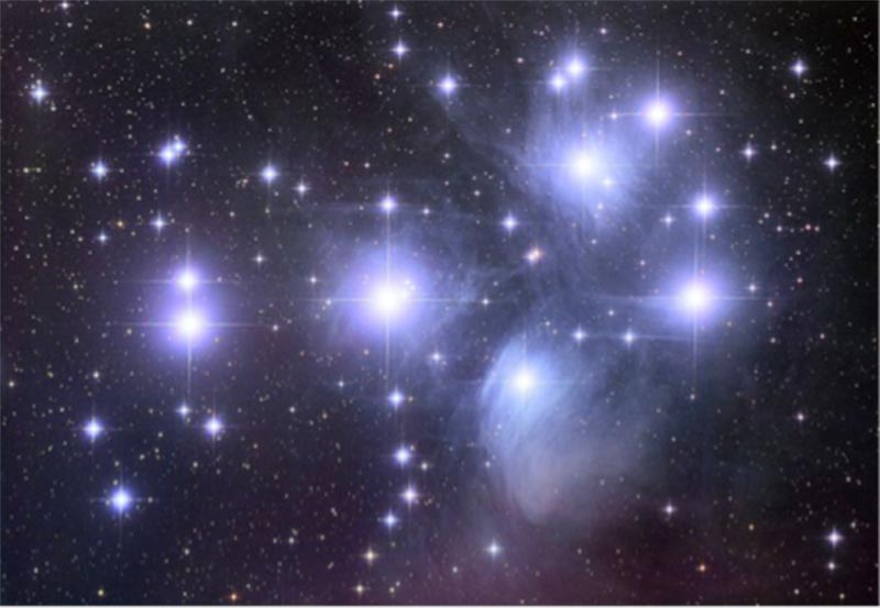 The Pleiades, M45; open cluster of bright stars, loosely gathered and irregular in shape.