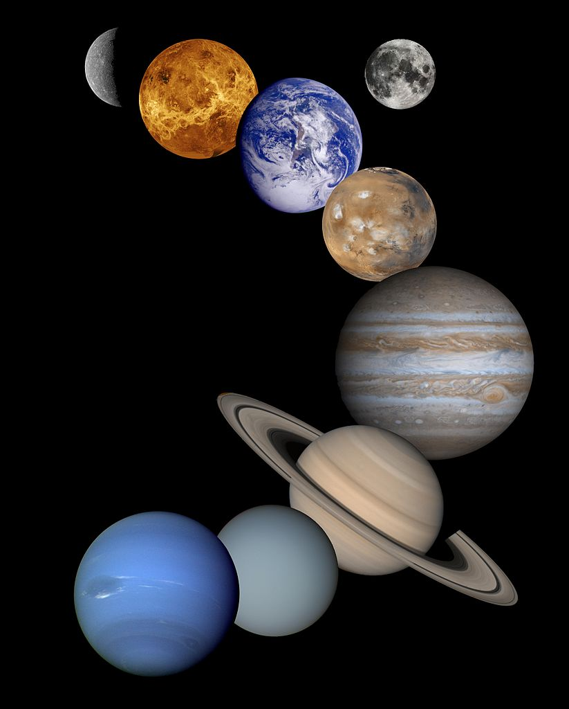 Image of Planets in our Solar System, including Mercury, Venus, Earth, Mars, Saturn, Jupiter, Uranus, Neptune, and the moon.
