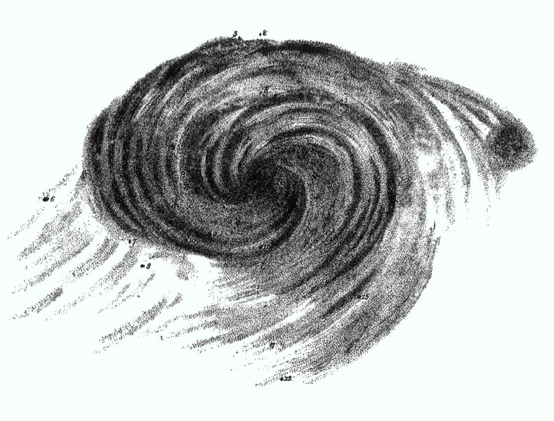 Image of Black and white whirlpool-like sketch of the Whirlpool galaxy, Messier 51.