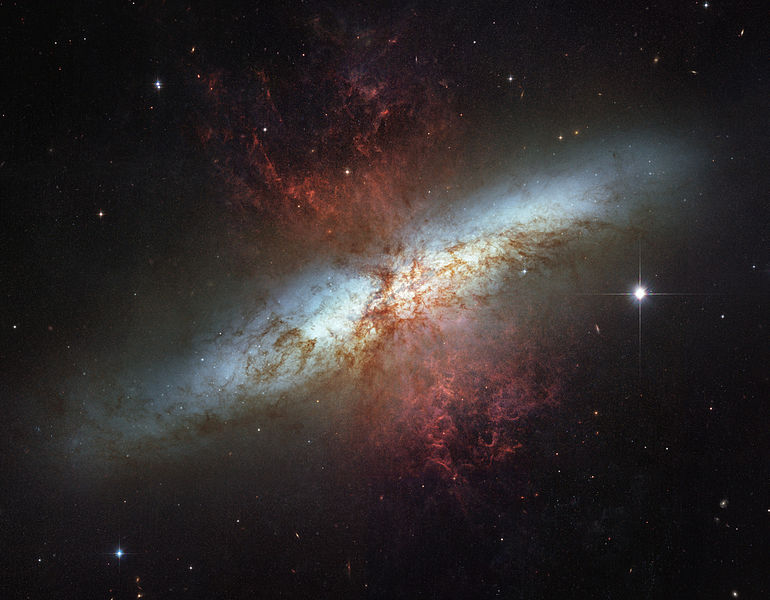 A photograph of Active galaxy M82, also known as a Starburst galaxy.