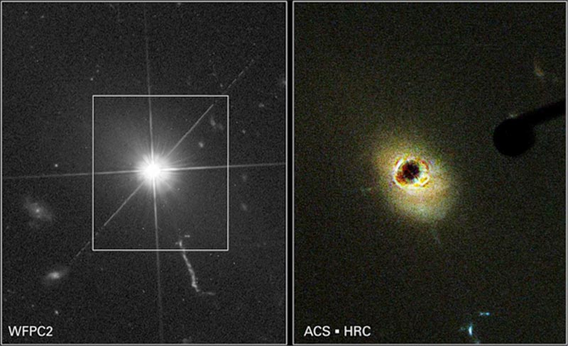 Image shows the brilliant Quasar; the spikes of light also demonstrate the star-like appearance of the Quasar. Image shows the bright Quasar blocked (appears black), providing a view of the Quasar's host galaxy.
