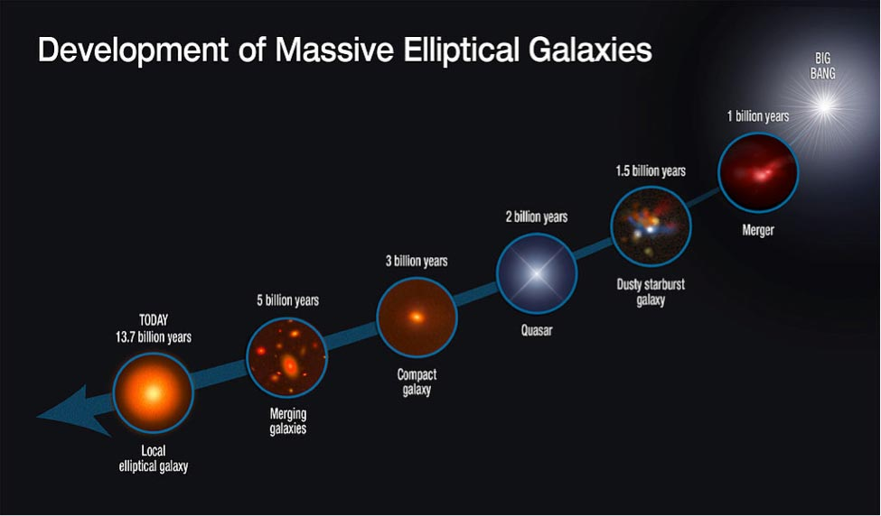 This graphic shows the evolutionary sequence in the growth of massive elliptical galaxies over 13 billion years, as gleaned from space-based and ground-based telescopic observations. The growth of this class of galaxies is quickly driven by rapid star formation and mergers with other galaxies.