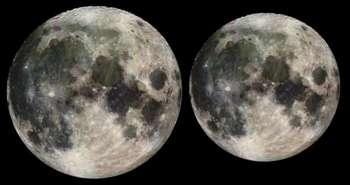 This illustration, based on Galileo spacecraft images, shows the approximate difference in apparent size between a full moon at perigee (left) and a full moon at apogee, the farthest point in the lunar orbit.