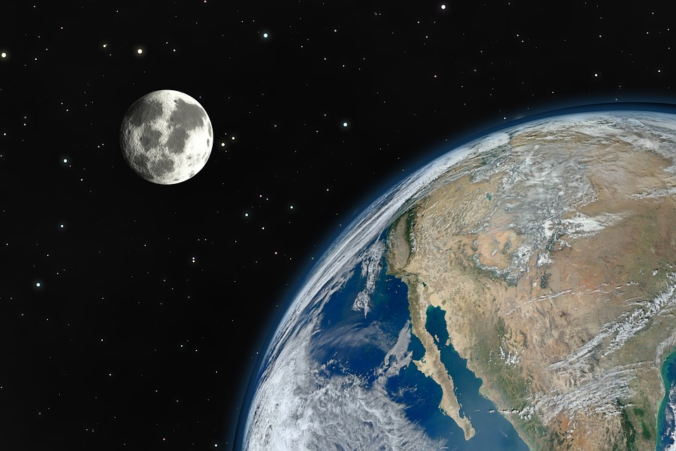 Image of the Moon, Earth's Satellite, behind Earth in the distance.