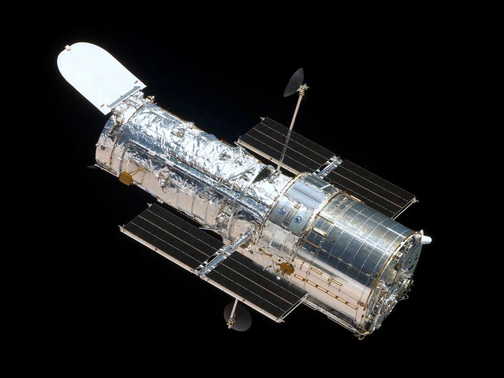 Image of The Hubble Space Telescope in orbit.