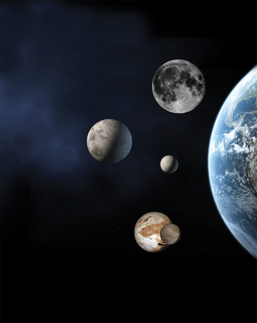 An artist's concept showing the size of the best known dwarf planets compared to Earth and its moon (top). Eris is left center; Ceres is the small body to its right and Pluto and its moon Charon are at the bottom.