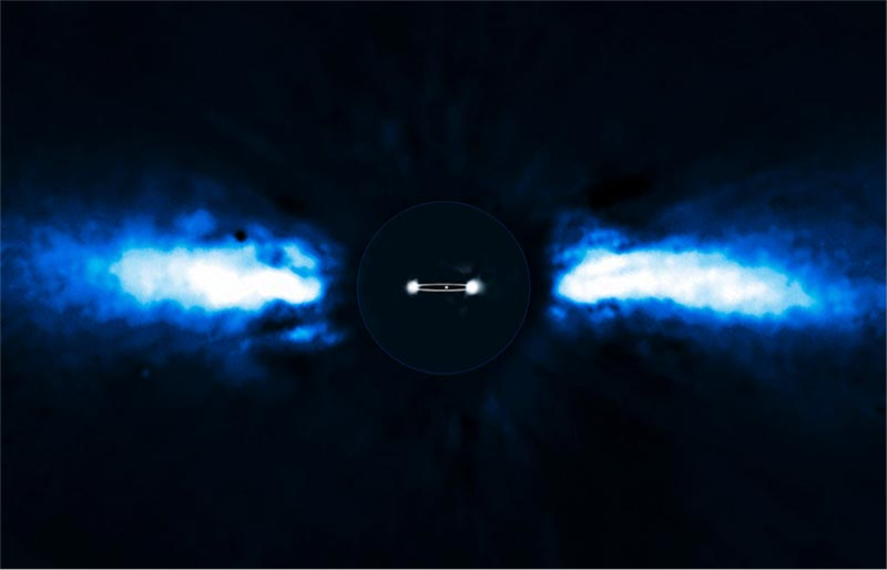 Image of an exoplanet caught on the move. It is Beta Pictoris b, about nine times as far from its star Beta Pictoris as Earth is from the Sun.