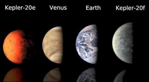 This chart compares artist's concept images of the first Earth-size planets found around a sun-like star to planets in our own solar system, Earth and Venus.