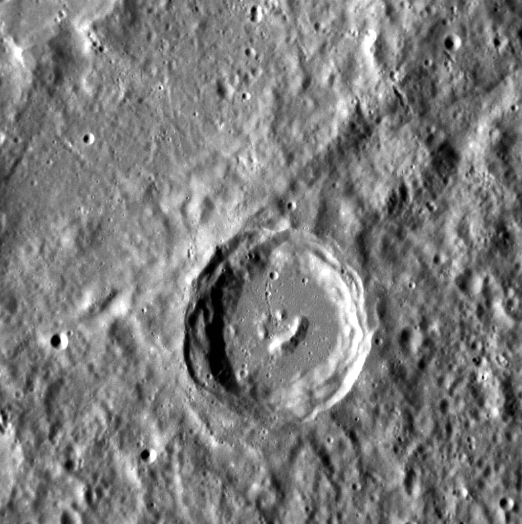 Image of Mercury's surface and craters.