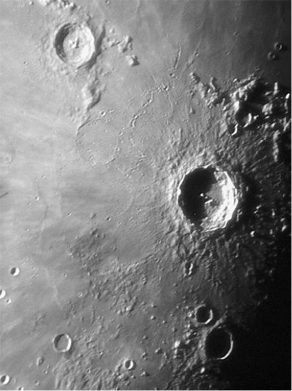Image of Large Lunar Craters Eratosthenes (upper left) and Copernicus (center right).