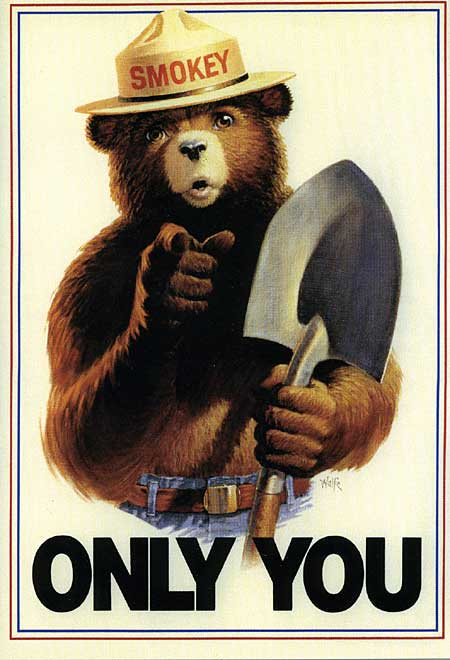 An image of Smokey Bear, the iconic figure of the United States Forest Service's campaign on preventing wildfires. Smokey Bear is clutching a shovel and pointing directly at the viewer of the image above the caption 'Only You.'