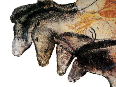 Image of a four multi-colored horses overlapping one another from the Chauvet Cave in France. The image demonstrates multi–dimensionality and a layered perspective.
