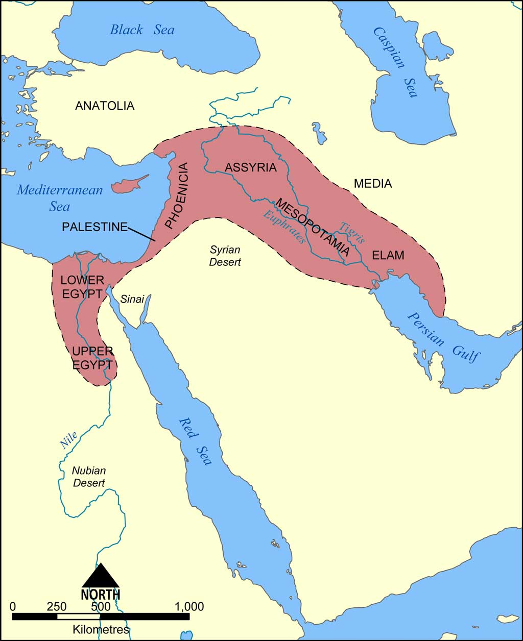 Map of the Fertile Crescent. The red zone on the map illustrates that the Fertile Crescent stretched along the Tigris and Euphrates Rivers and into Egypt.