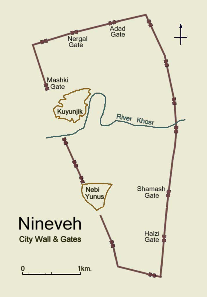 Map depicting the city walls and gates that surrounded the ancient city of Nineveh. A curved blue line in the middle of the map marks route of the River Khosr through the city. Brown circles in the map connote the location of the king's palace (Kuyunjik) and the supposed grave of the prophet Jonah (Nebi Yunus).