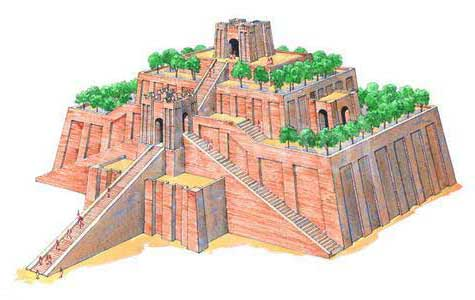 Artists illustration of a three-layered reddish Ziggurat with stair case stretching to the top.