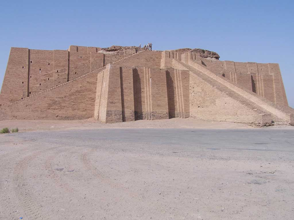 A sand-bricked Ziggurat in the desert of Iraq. The Ziggurat only has only a base as its top layers were destroyed.