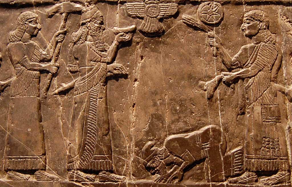 The Black Obelisk Inscription is a reddish stone inscription. This image from the inscription depicts four two-dimensional figures including the Israelite king Jehu bowing before the Assyrian king Shalmaneser.