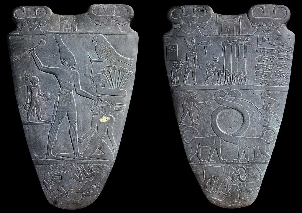 The image represents both sides of the Narmer Palette. On the left hand side, king Narmer stands above his enemy while the falcon-god Hathor looks on in approval. Here Narmer wears the cone crown of Upper Egypt. On the right hand side, king Narmer leads a procession of soldiers following victory in battle. Here Narmer wears the bowl-shaped crown of Lower Egypt. The decapitated bodies of his enemies lay before them.