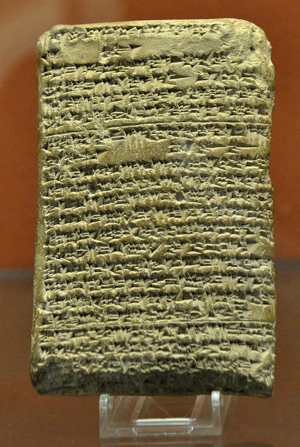 The picture is of one of the Amarna Letters. A clay tablet with cuneiform script, the tables dictates a correspondence sent by the Kassite king to the Egyptian Pharaoh asking for more gold.