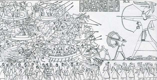 In this depiction, a gigantic Ramses III stands with his army, bows drawn, as they stand against the hordes of invaders known as the Sea Peoples.