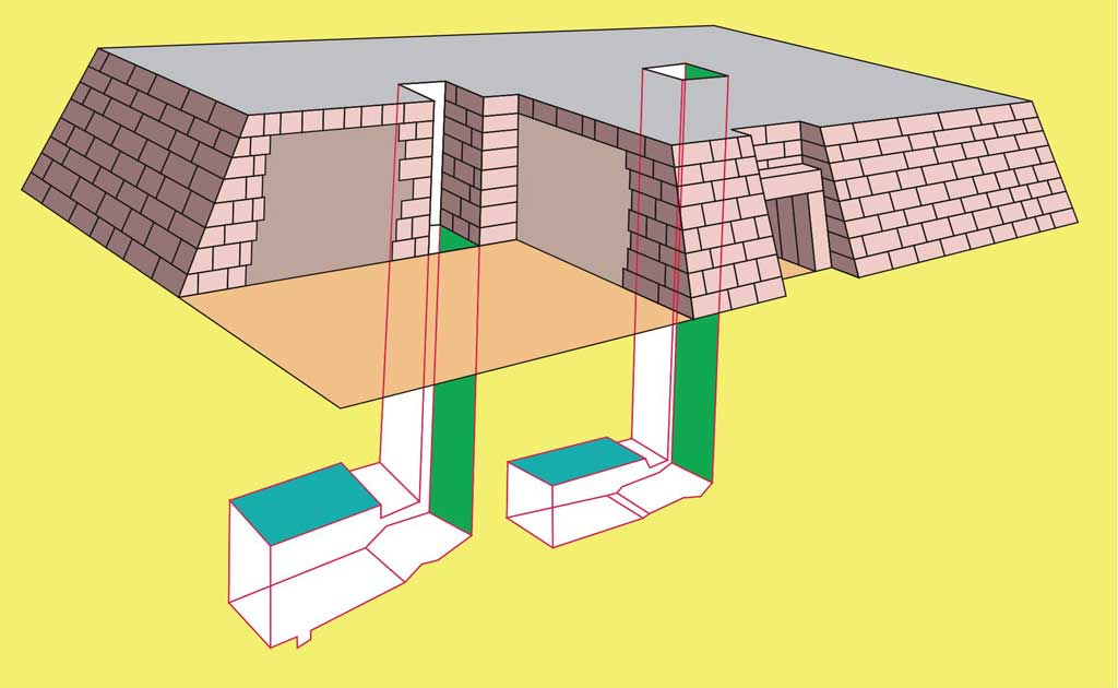 A diagram of the interior of a flat mastaba with tunnels leading downwards to two lower chambers.
