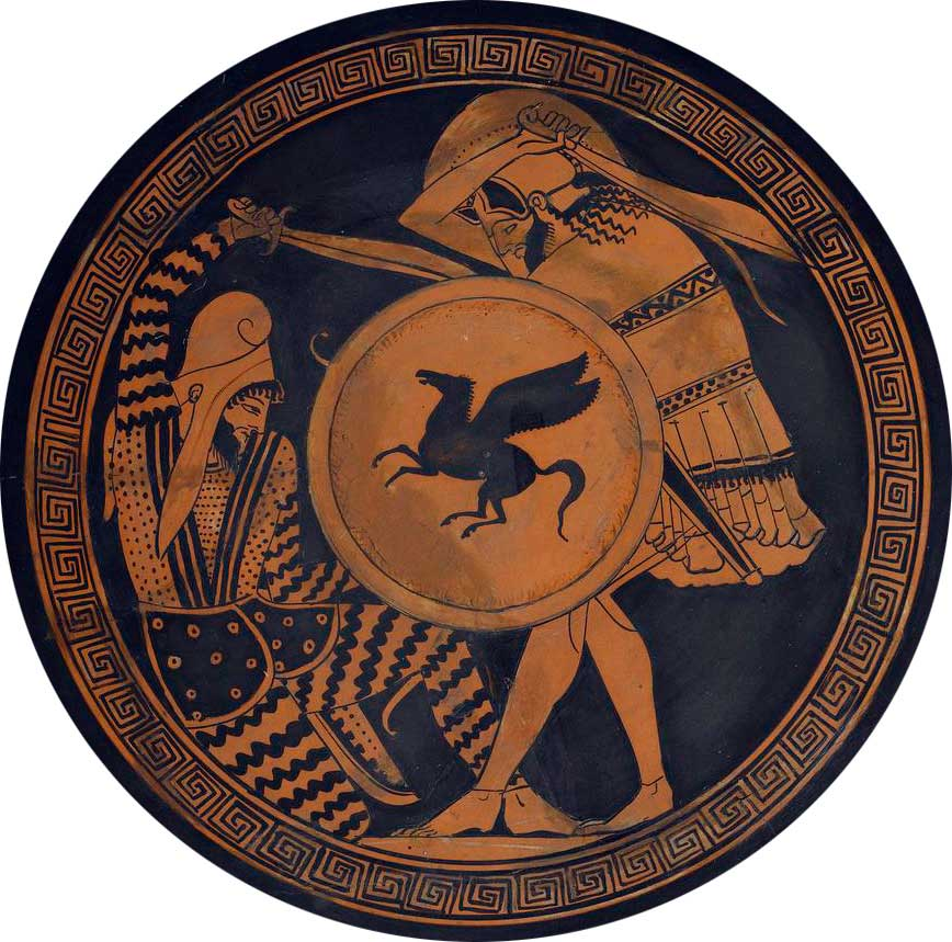 Persian soldier (left) and Greek hoplite (right) depicted fighting, on an ancient kylix, 5th century BC.