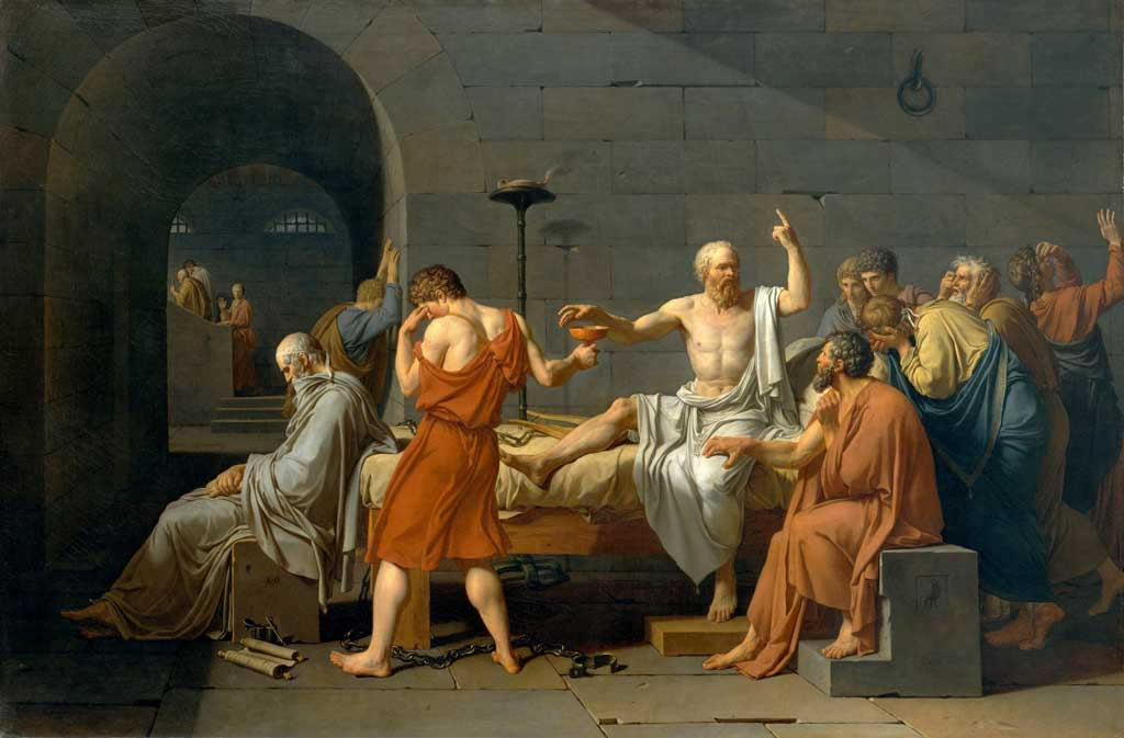 Painting by Jacques-Louis David called The Death of Socrates. In this depiction, a white-robed Socrates sits on a bed reaching for a cup of hemlock, prepared to die while his students stand in distress around him.