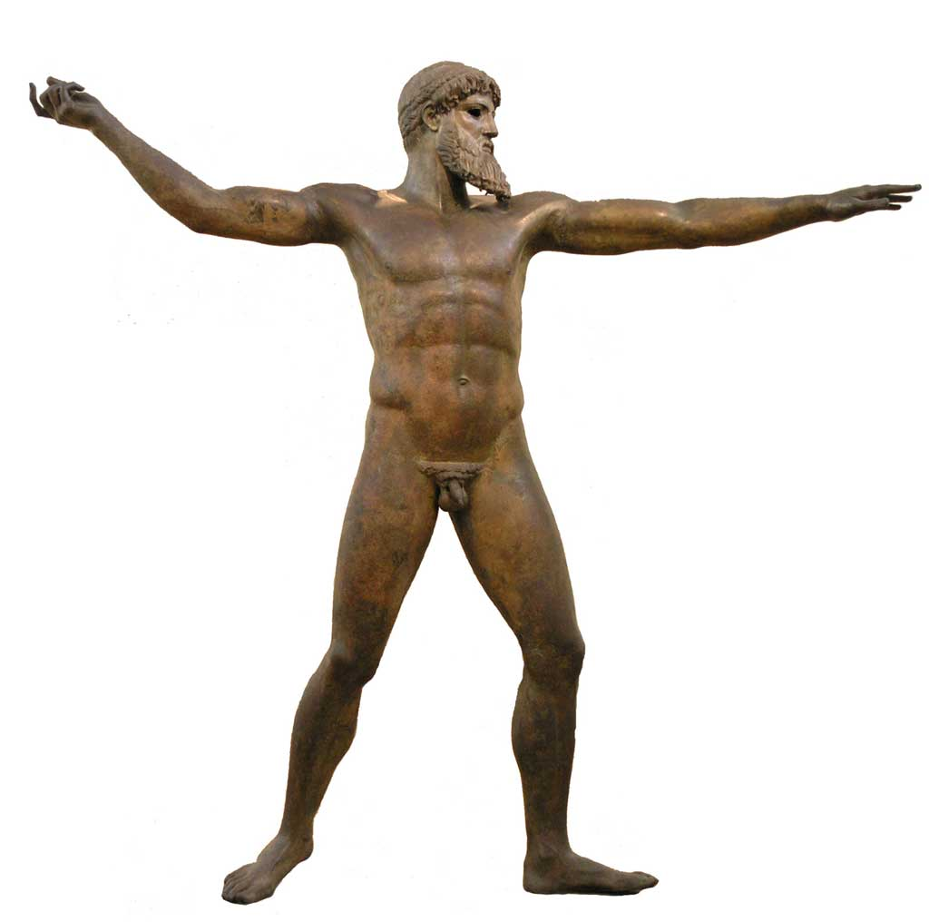 Bronze statue of the bearded and nude Poseidon stepping forward as if to throw a long spear or javelin.